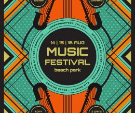Music festival poster template vector