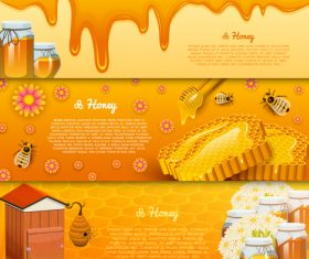 Natural honey banners design vectors 01