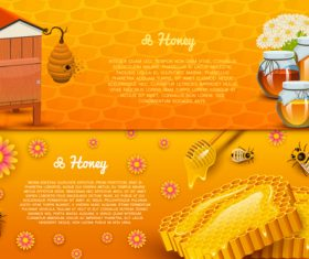 Natural honey banners design vectors 02