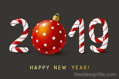 New Year 2019 candy numbers vector material