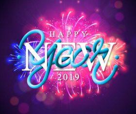 New year 2019 firwork purple background vector