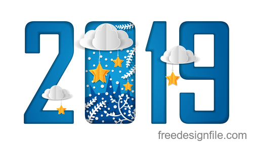 New year 2019 with paper cloud design vectors