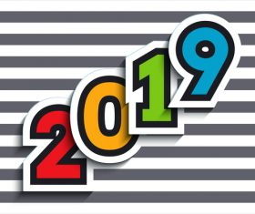 New year 2019 with striped background vector 01