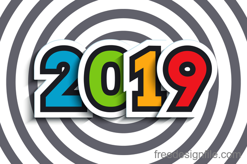 New year 2019 with striped background vector 02