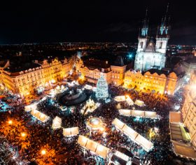 Night Prague Christmas Market Stock Photo