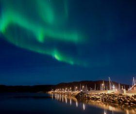 Northern Lights on the night sky Stock Photo