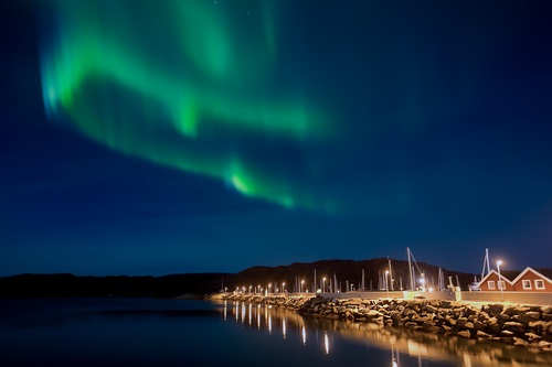 Northern Lights on the night sky Stock Photo
