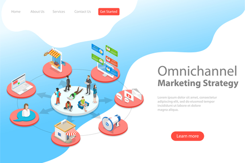 Omnichannel marketing strategy business template vector