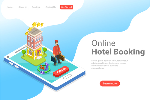 Online hotel booking business template vector