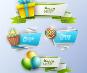 Origami birthday holiday banners vector 01