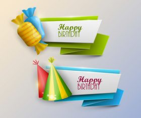 Origami birthday holiday banners vector 02