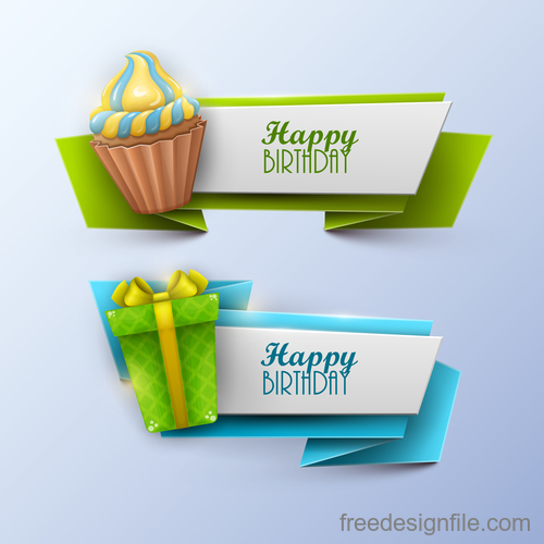 Origami birthday holiday banners vector 03