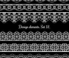 Ornamental border patterns vectors set 01