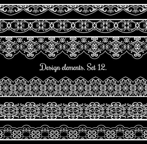 Ornamental border patterns vectors set 01