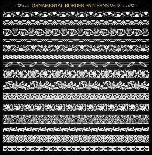 Ornamental border patterns vectors set 03