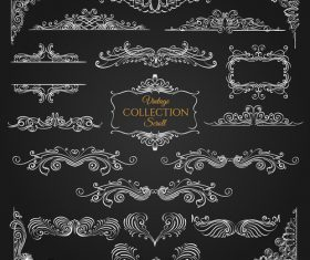 Ornate scroll elements collection vector