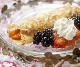 Pancakes with fruit jam and berries Stock Photo 01