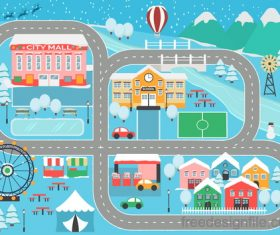 Panorama of the city winter vector 01