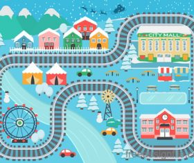 Panorama of the city winter vector 02