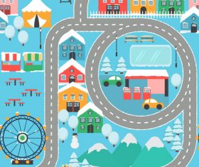 Panorama of the city winter vector 03