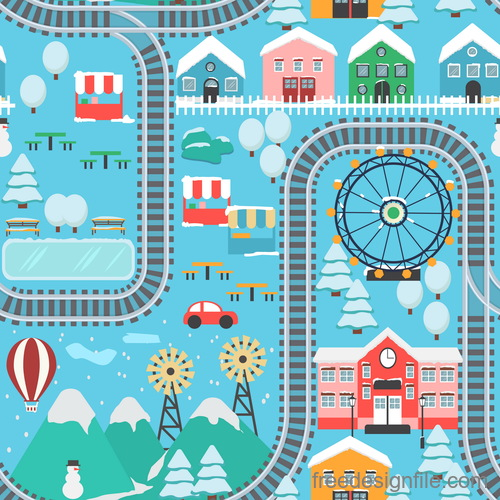 Panorama of the city winter vector 04