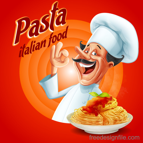 Pasta italian food with chef vector