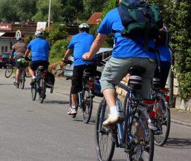 People ride mountain bike Stock Photo 01
