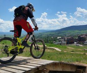People ride mountain bike Stock Photo 07