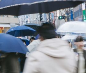 People with umbrellas on the rainy streets Stock Photo 02