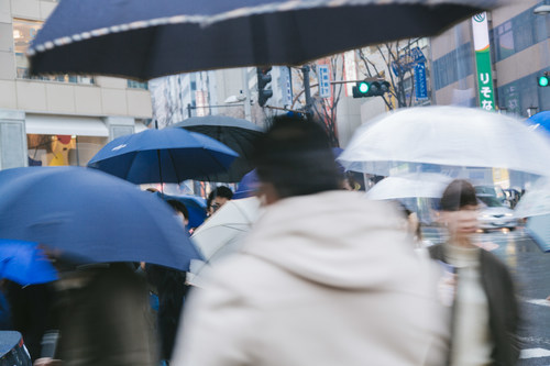 People with umbrellas on the rainy streets Stock Photo 02