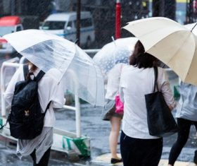 People with umbrellas on the rainy streets Stock Photo 03