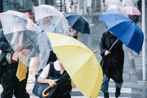 People with umbrellas on the rainy streets Stock Photo 04