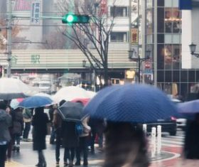 People with umbrellas on the rainy streets Stock Photo 06
