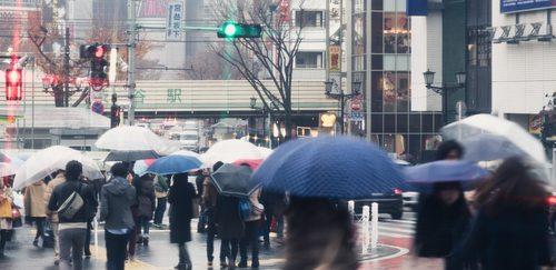People with umbrellas on the rainy streets Stock Photo 06