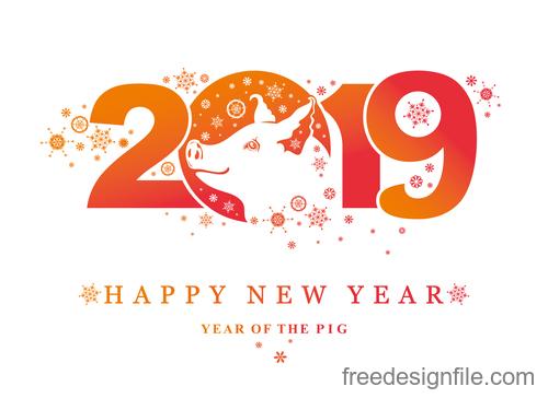 Pig 2019 Happy New Year design vectors