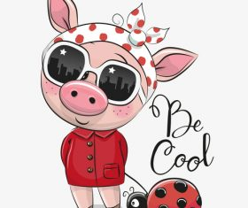 Pig girl with Ladybug cartoon vector