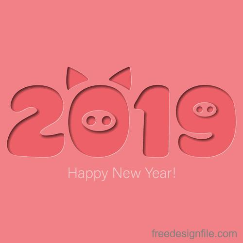 Pink background with 2019 year of the pig vector