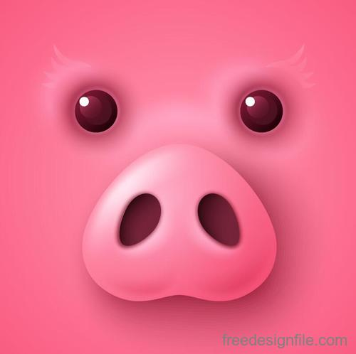 Pink pig background vectors