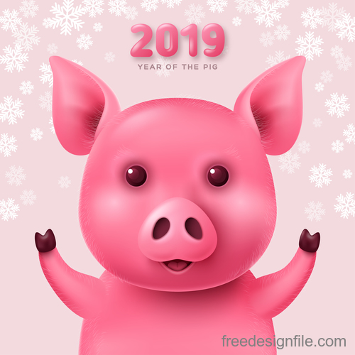Pink pig with 2019 new year background vector