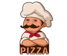 Pizza chef illustration vector