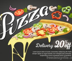 Pizza discount poster vector