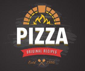 Pizza logo emblem vector 01