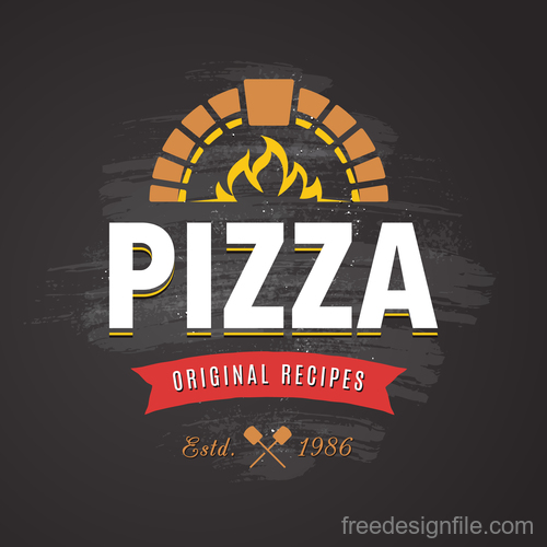 Pizza logo emblem vector 01