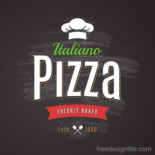 Pizza logo emblem vector 02