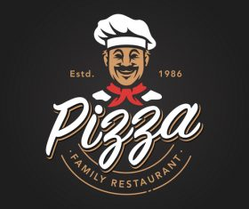 Pizza logo emblem vector 03
