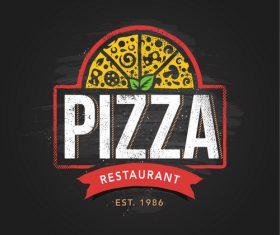 Pizza logo emblem vector 06