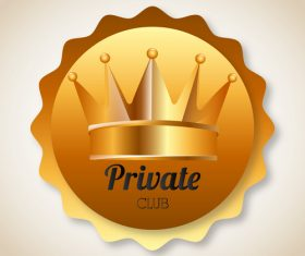 Private club badge golden vector