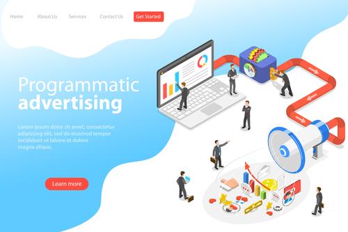 Programmatic advertising business template vector