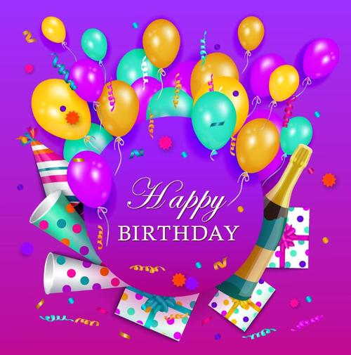 Purple Happy birthday card and colored vector