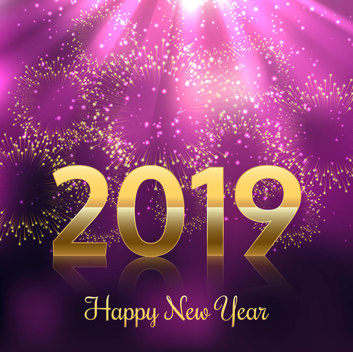 Purple fireworks with 2019 new year golden vector